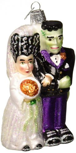Old World Christmas Ornaments: Frankenstein & Bride Glass Blown Ornaments