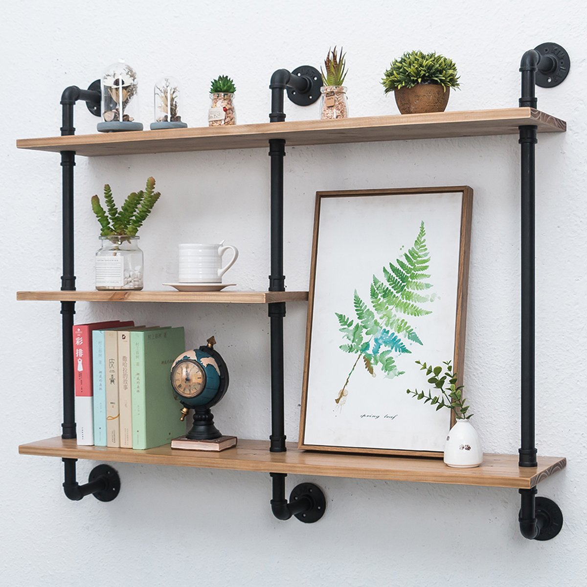 Industrial Pipe Shelf with Wood 43.3in,Rustic Wall Mount Shelf 3-Tiers,Metal Hung Bracket Bookshelf,Diy Storage Shelving Floating Shelves - Living room