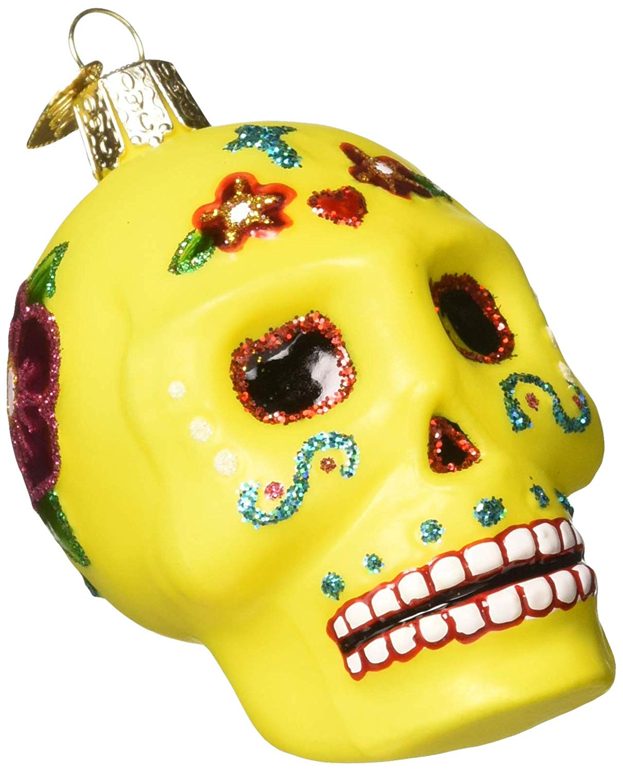 Old World Christmas Glass Blown Ornament, Sugar Skull (26079)
