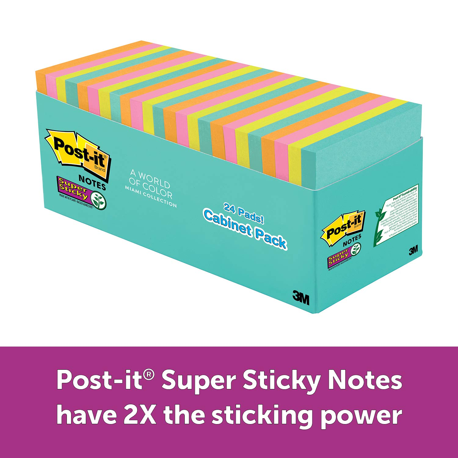 Post-it Super Sticky Notes, Miami Colors, Sticks and Resticks, Great for Reminders, Large Pack, 3 in. x 3 in, 24 Pads/Pack, 70 Sheets/Pad (654-24SSMIA-CP)