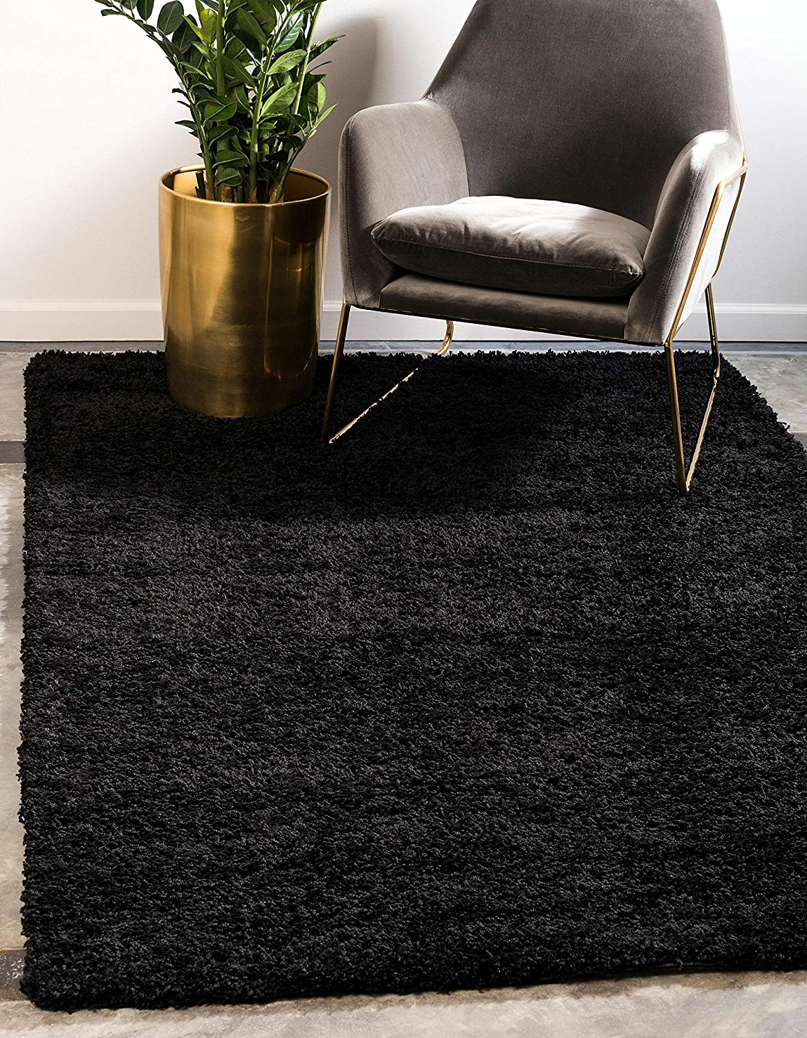 Unique Loom Solo Solid Shag Collection Modern Plush Jet Black Area Rug (8' 0 x 10' 0) - Living room