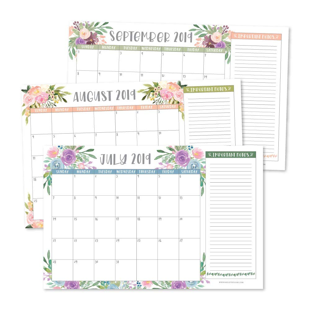 Floral 2019-2020 Large Monthly Desk or Wall Calendar Planner, Big Giant Planning Blotter Pad, 18 Month Academic Desktop, Hanging 2-Year Date Notepad Teacher...