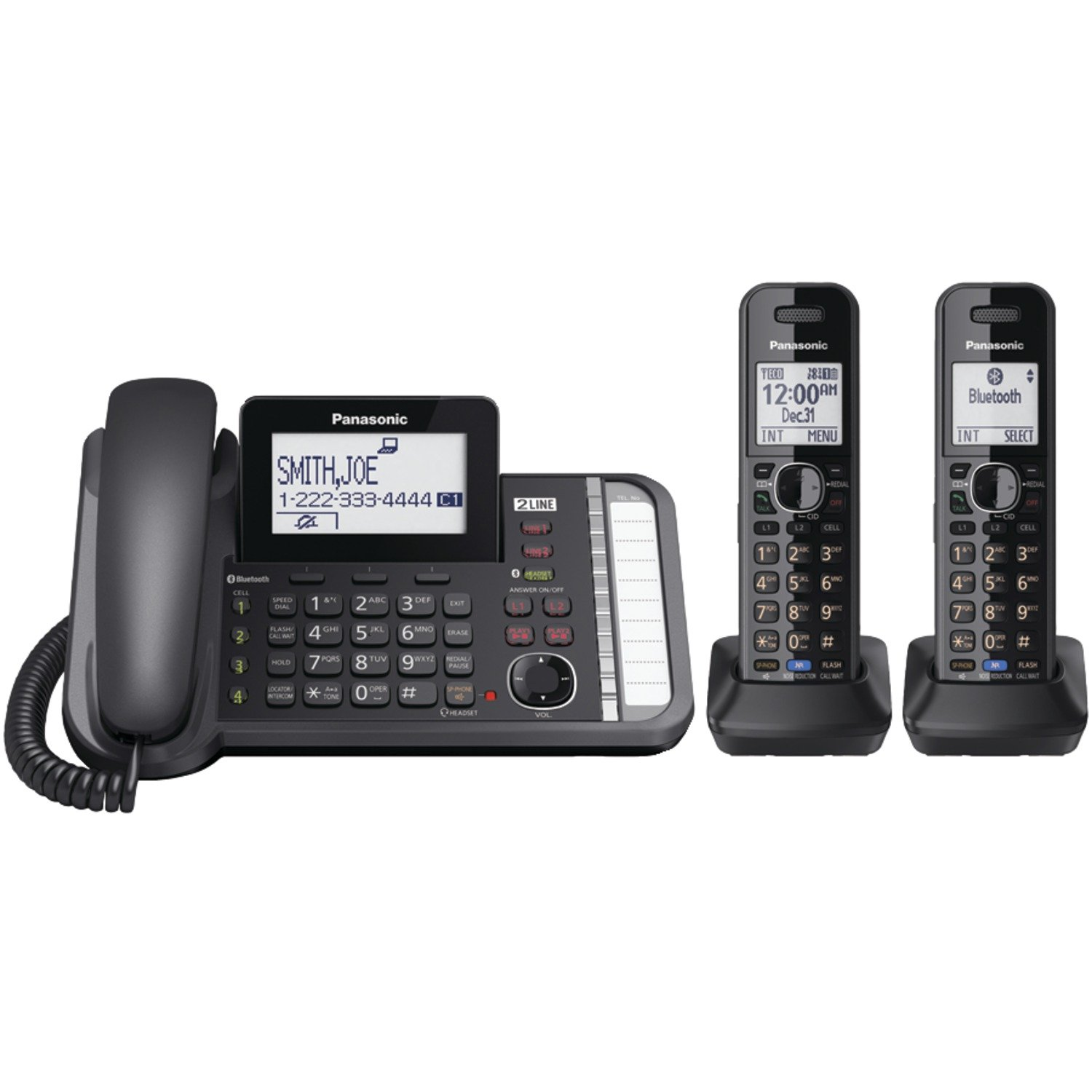 PANASONIC 2-Line Cordless Phone with 3-Way Conferencing, Call Blocking and Answering Machine