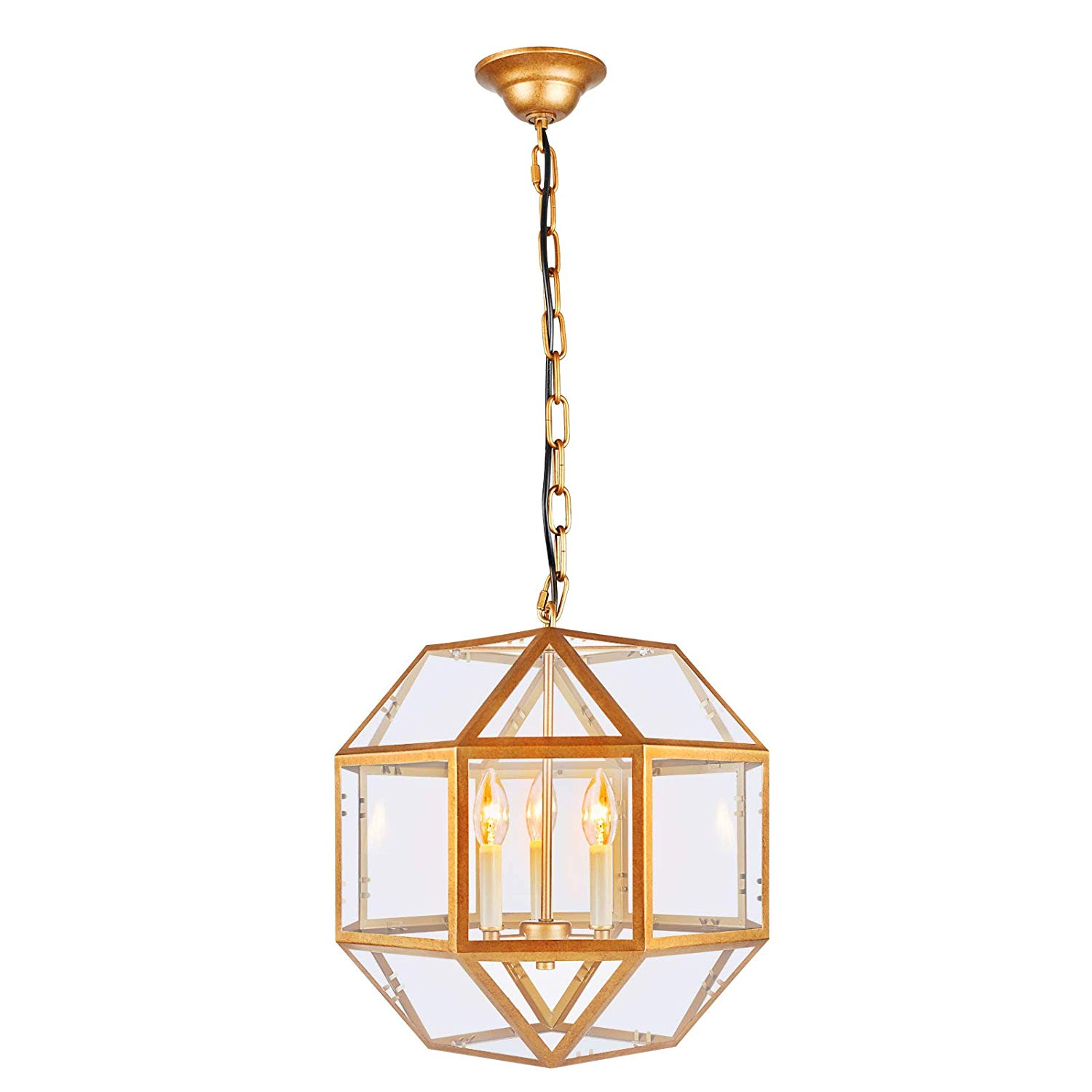 Paragon Home 3-Light Antique Brass Lantern Pendant Lighting with Clear Glass, Industrial Chandelier for Kitchen, Dining Room, Living Room, Hanging Light. - Living room