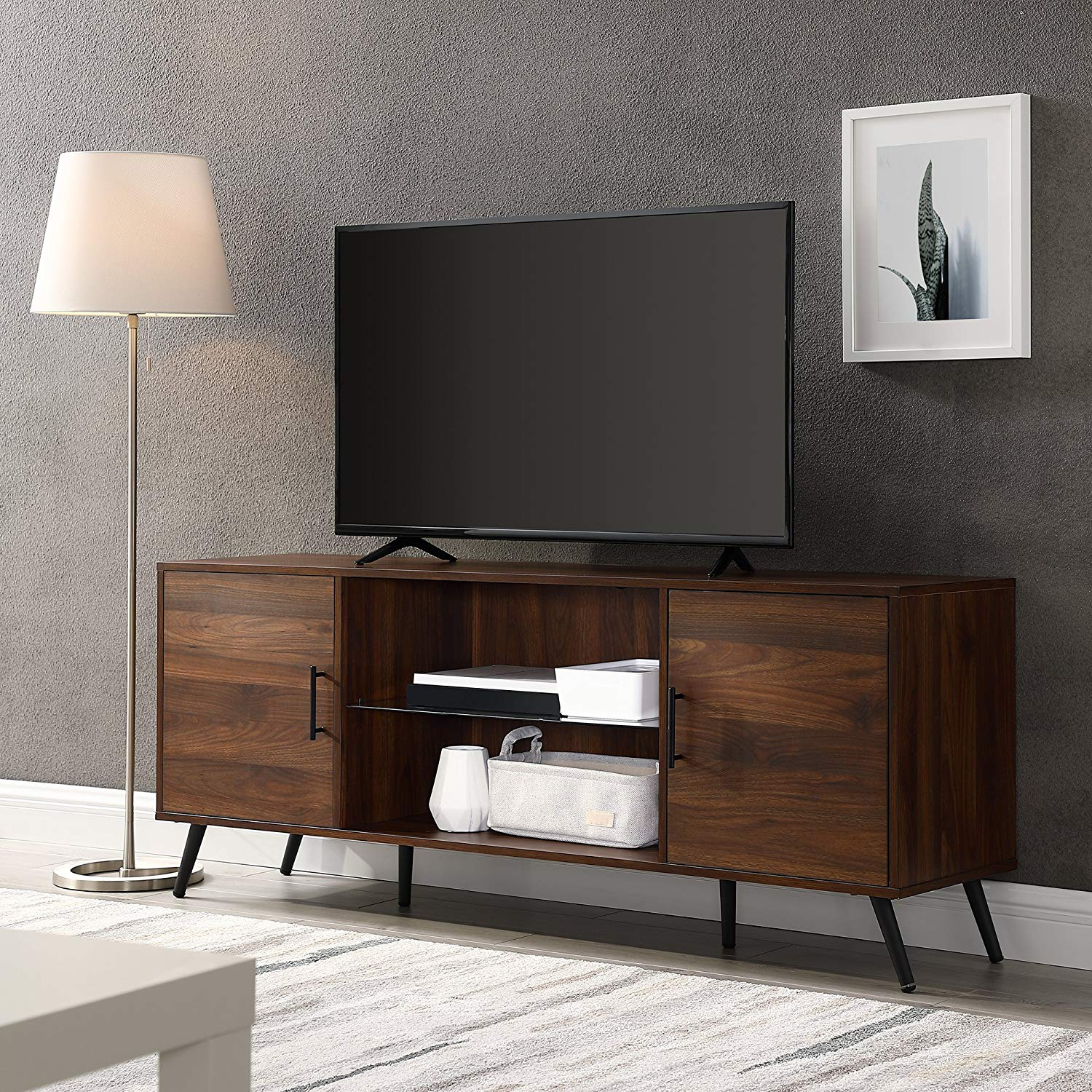 "WE Furniture AZ60NOR2DDW TV Stand, 60"", Dark Walnut - Living room"