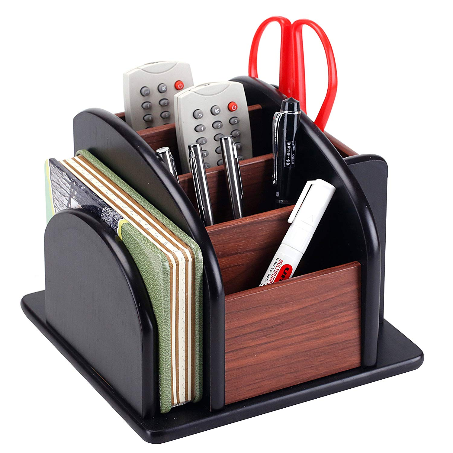 6-Compartment Wood Rotating Remote Caddy/Desktop Office Supply Organizer Holder - Living room