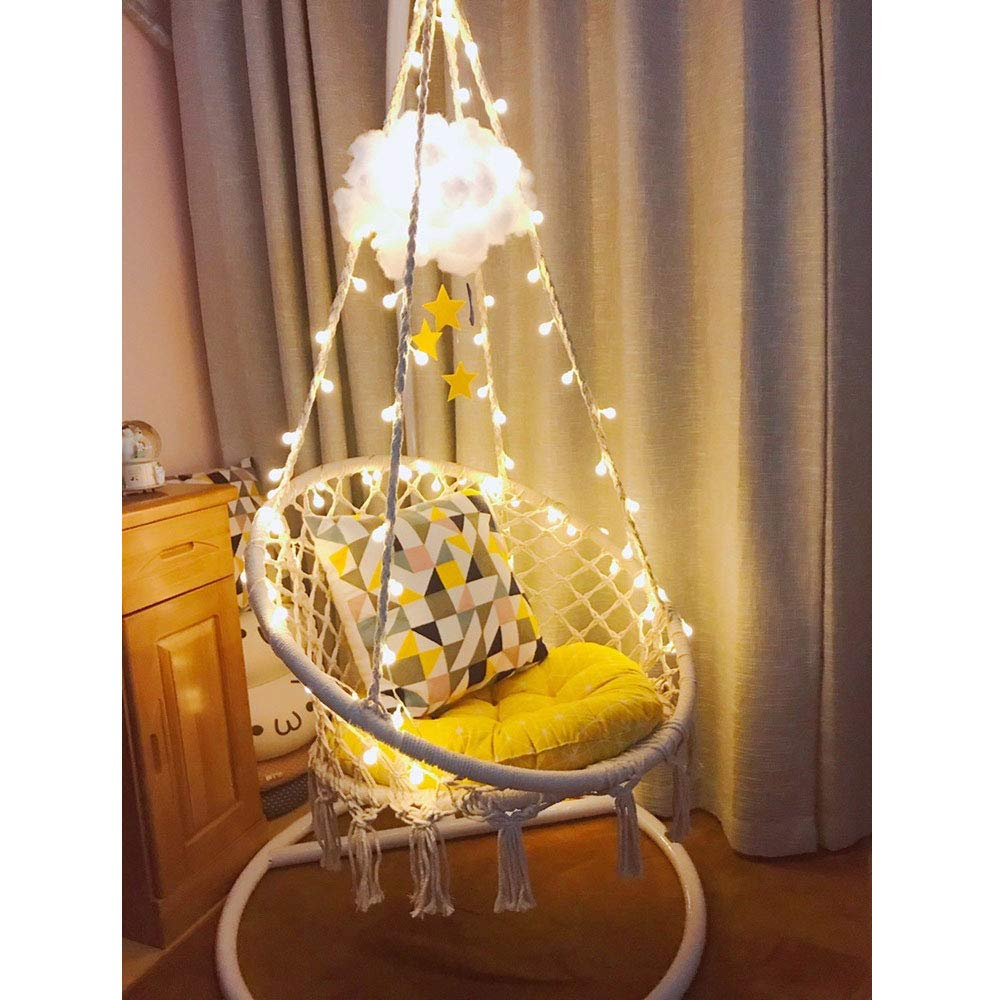 Sonyabecca LED Hanging Chair Light Up Macrame Hammock Chair with 39FT LED Light for Indoor/Outdoor Home Patio Deck Yard Garden Reading Leisure Lounging...
