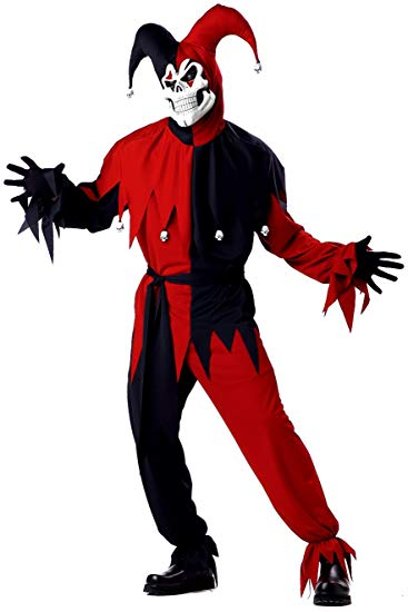 California Costumes Men's Adult- Red Evil Jester, Black/Red, XL (44-46) Costume