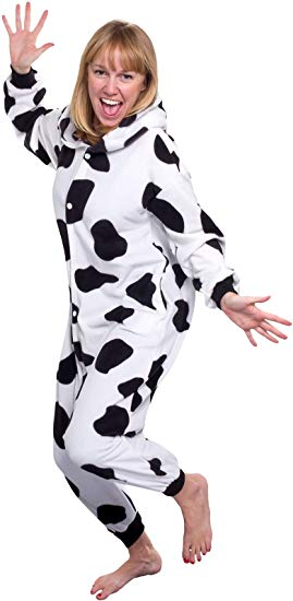 Silver Lilly Unisex Adult Pajamas - Plush One Piece Cosplay Cow Animal Costume