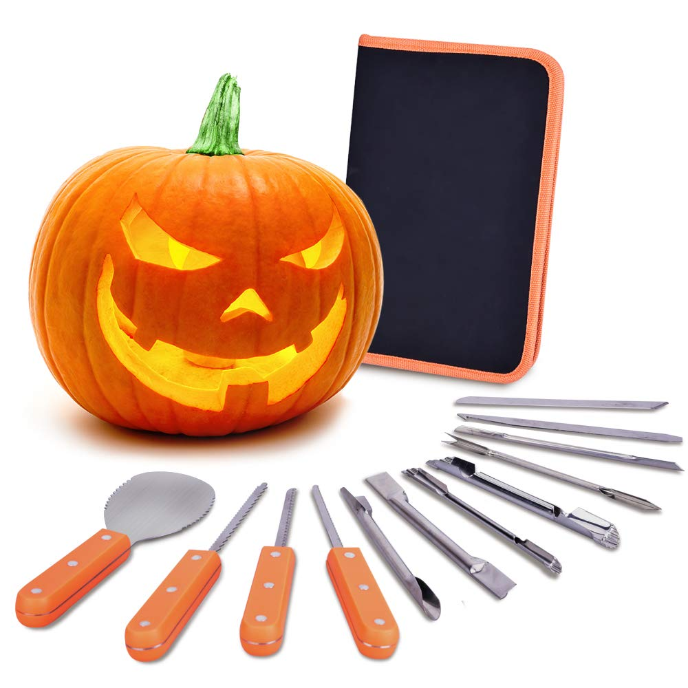 VIVREAL Halloween Pumpkin Carving Kit, 12 Pieces Heavy-Duty Stainless-Steel Carving Tools Set for Halloween Decoration, Easily Sculpting Jack-O-Lanter