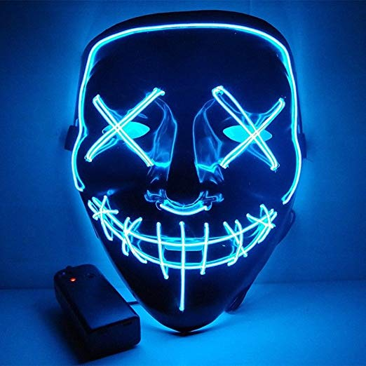 Anroll Halloween Mask LED Light Up Mask for Festival Cosplay Halloween Costume