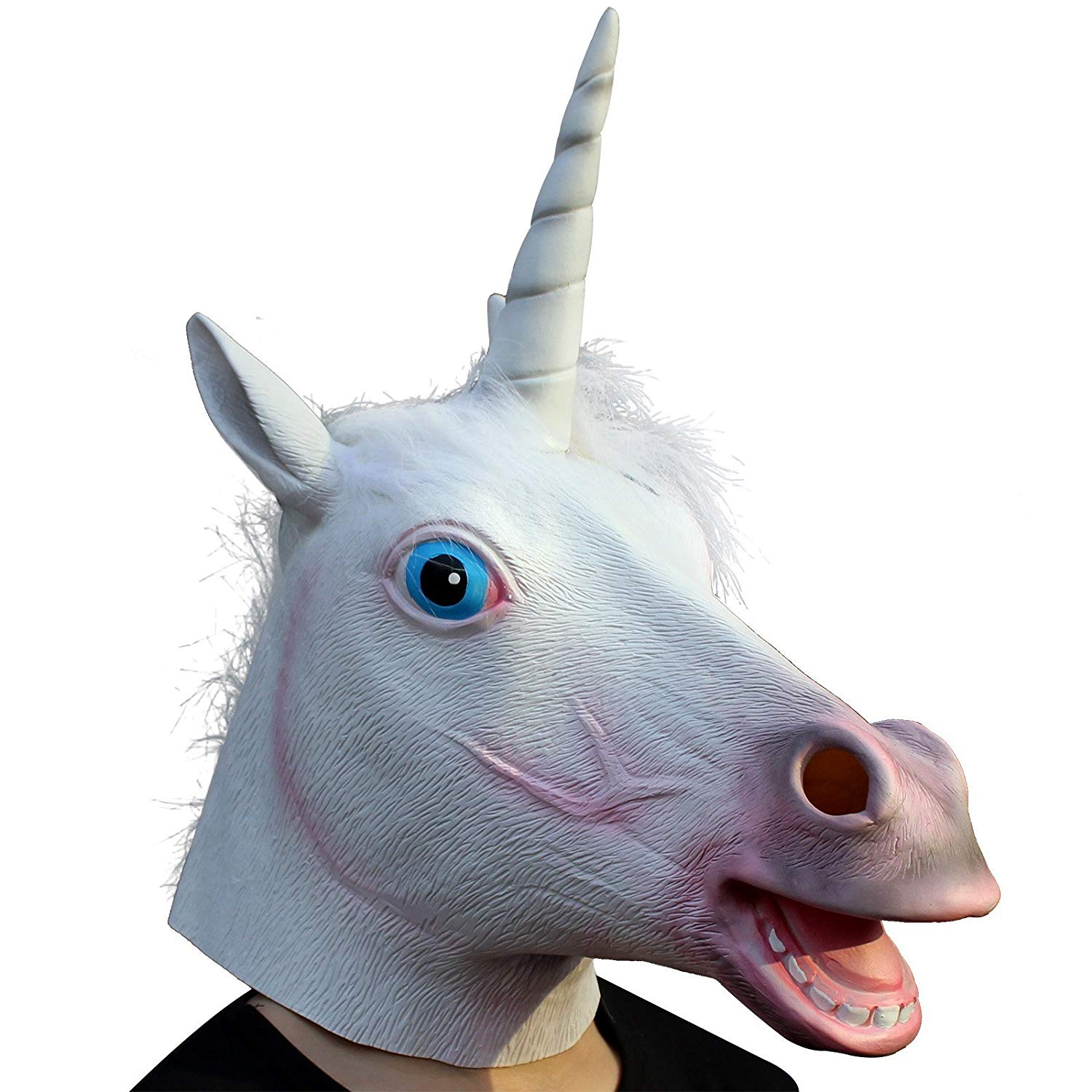 CreepyParty Deluxe Novelty Halloween Costume Party Latex Animal Head Mask, Unicorn
