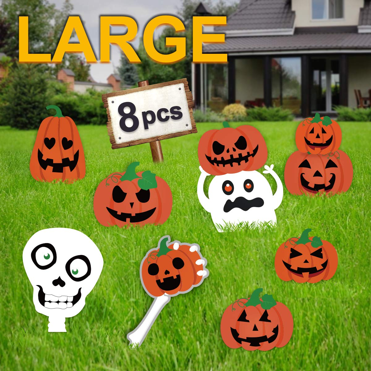 Pawliss Halloween Decorations Outdoor, Extra Large 8ct Pumpkins Skeleton and Ghost Corrugate Yard Signs with Stake