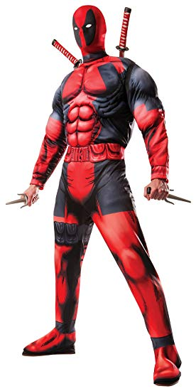 Rubie's Costume Co Classic FIBER-Filled Muscle Chest Deadpool Costume, Red, X-Small