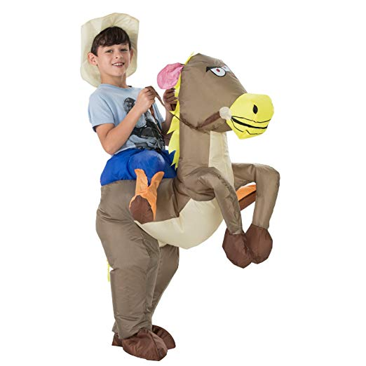 TOLOCO Inflatable Dinosaur T-Rex Costume | Halloween Cosplay Costumes for Adult/Child | Blow Up Costume,One Size Fits Most (Child Horse)