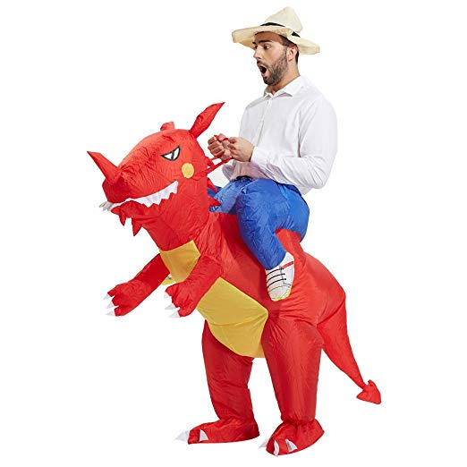 TOLOCO Inflatable Dinosaur T-REX Costume | Inflatable Costumes for Adults| Halloween Costume | Blow Up Costume (Adult Dinosaur # Red)