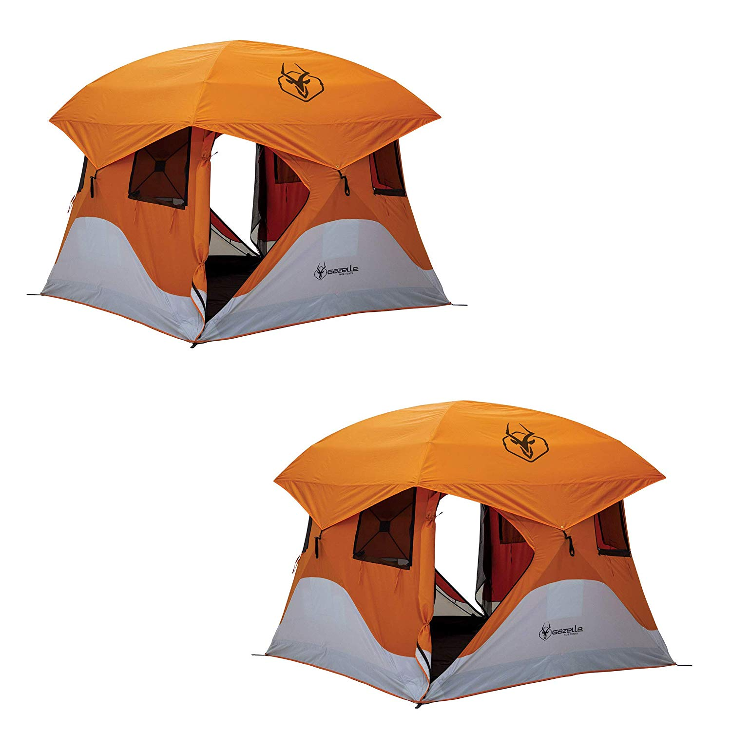 "Gazelle T4 94""x94"" 4 Person Pop Up Camping Hub Tent w/Removable Floor (2 Pack)"