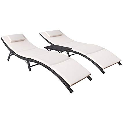 Flamaker 3 Pieces Patio Chaise Lounge