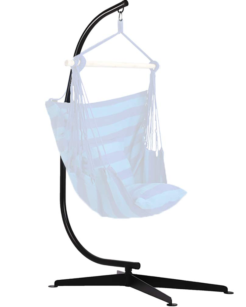 FDW Hammock Chair Stands Hanging Hammock Stands, C Stand Outdoor Solid Steel Heavy Duty Stand Only Construction for Hanging Hammock Air Porch Swing Chair Indoor.