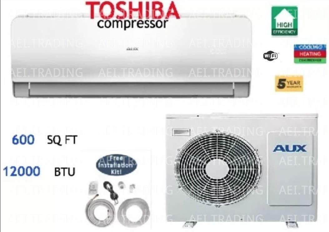 Aux-Air Conditioner Ductless Wall Mount Mini Split System Air Conditioner & Heat Pump Full Set, 12000 BTU 220V