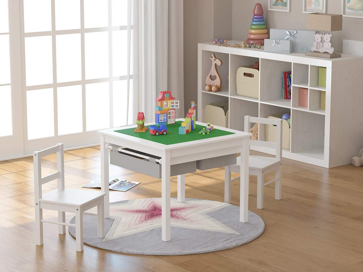 Utex 2-in-1 Kids Multi-Activity Table and 2 Chairs Set with Storage