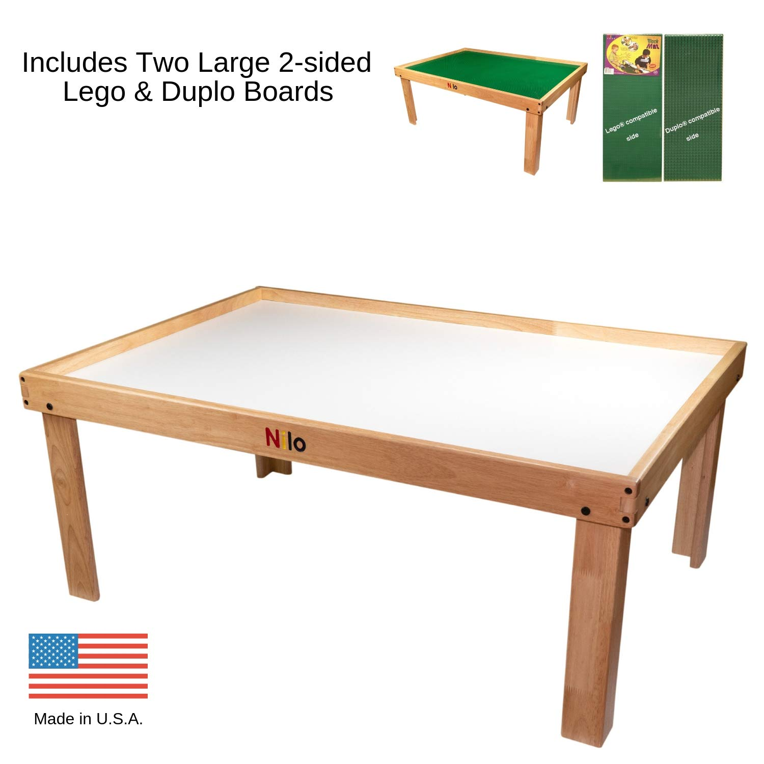 Lego Table with Detachable Two 2-Sided Lego & Duplo Baseplates/ Boards/ Mats by NILO