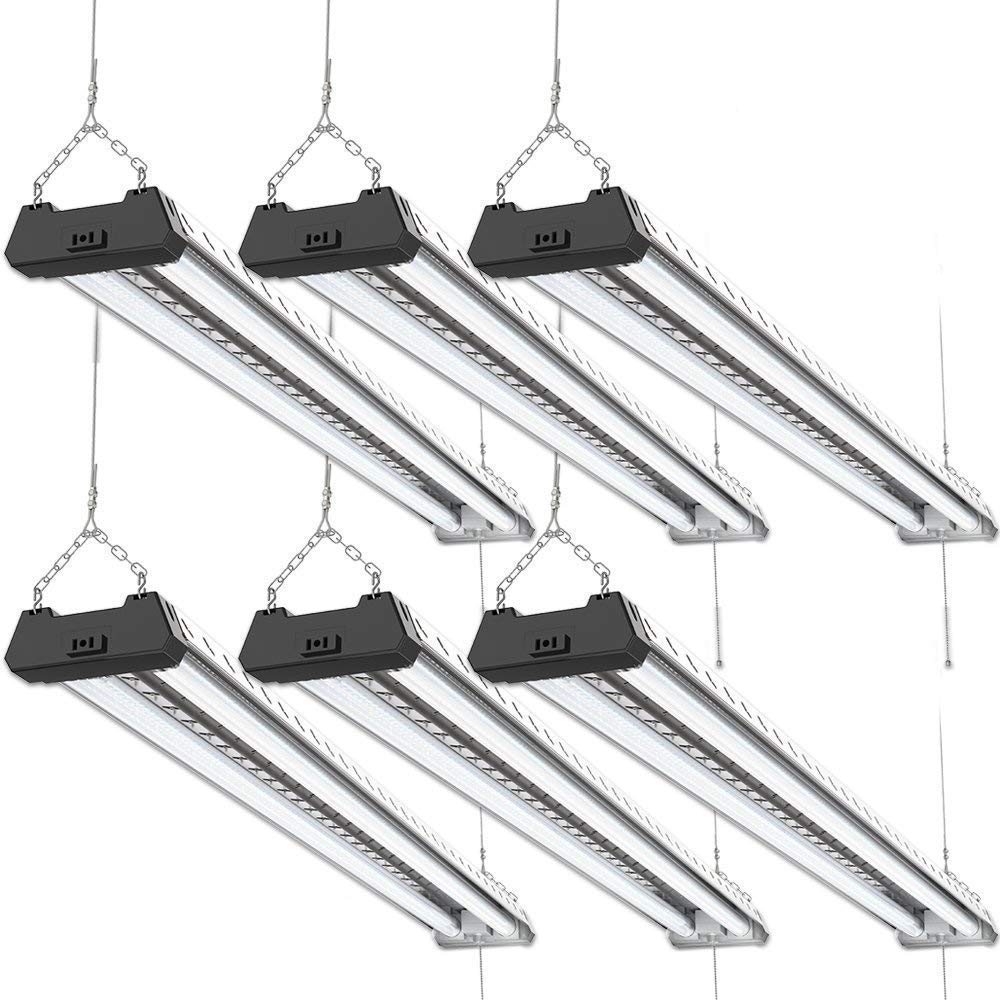 Sunco Lighting 6 Pack 48 inch LED Shop Light, 4FT, Linkable Integrated Fixture, 40W=260QW. 5000k Daylight, 4500 LM, Clear Lens