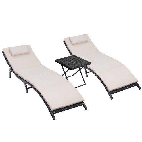 Homall 3 Pieces Outdoor Lounge Chair Patio Chaise Lounge