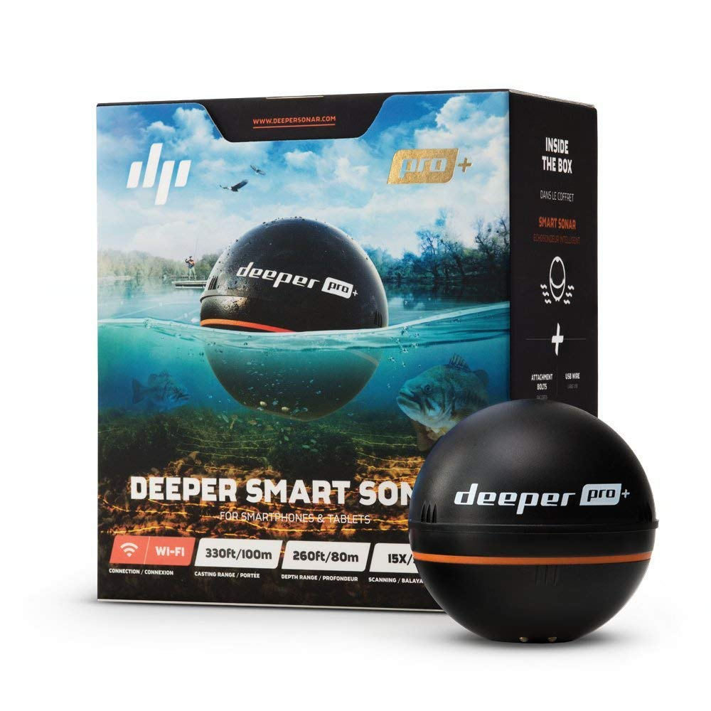 Deeper PRO+ Smart Sonar- GPS Portable Wireless Wi-Fi Fish Finder for Shore and Ice Fishing