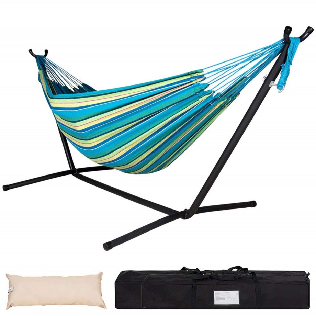 Lazy Daze Hammocks Double Hammock with Space Saving Steel Stand Includes Portable Carrying Case and Head Pillow, 450 pounds capacity