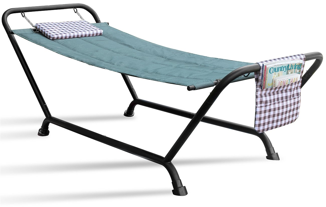 Sorbus Hammock Bed with Stand, Features Deluxe Pillow and Storage Pockets, Heavy Duty, Supports 500 pounds, Great for PATIO, Deck, Yard, Garden, Camping