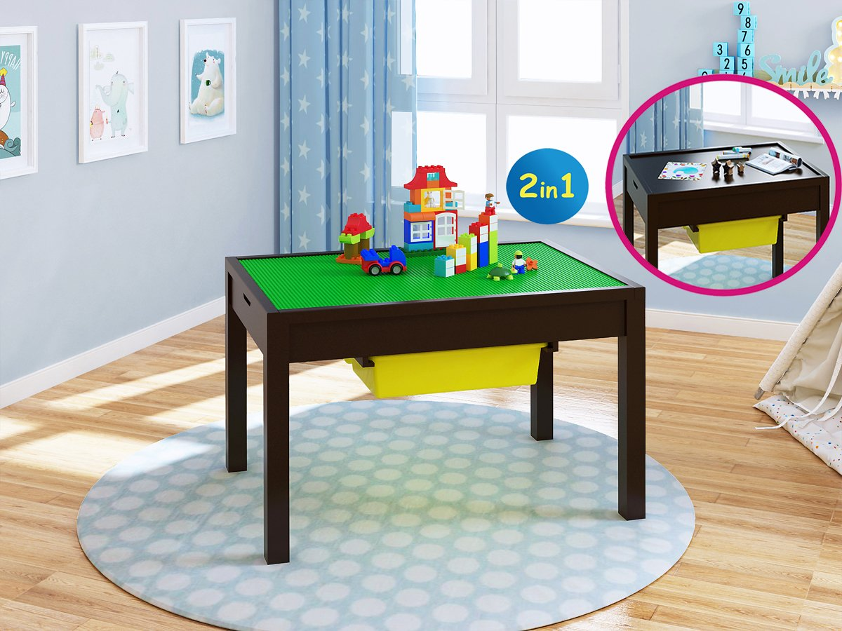 Utex 2-in-1 Kid Activity Table with Storage Compartment and Two Storage Bins, Play Table for kids, Boys, Girls