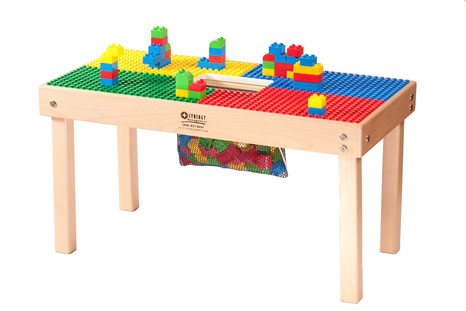 Heavy Duty Duplo Compatible Table with Built-in Lego Storage