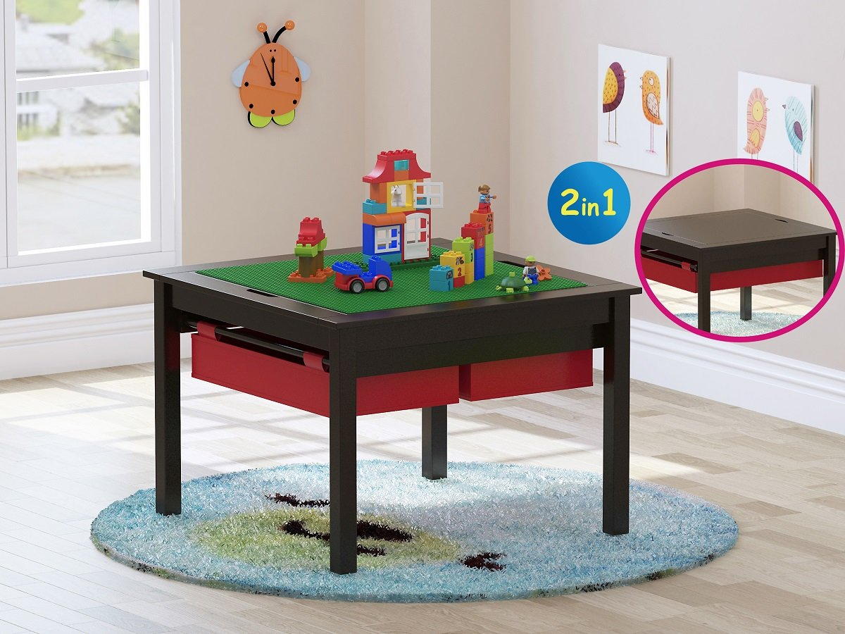 Utex 2 in 1 Kid Construction Play Table with Storage Drawers and Built-in Plate
