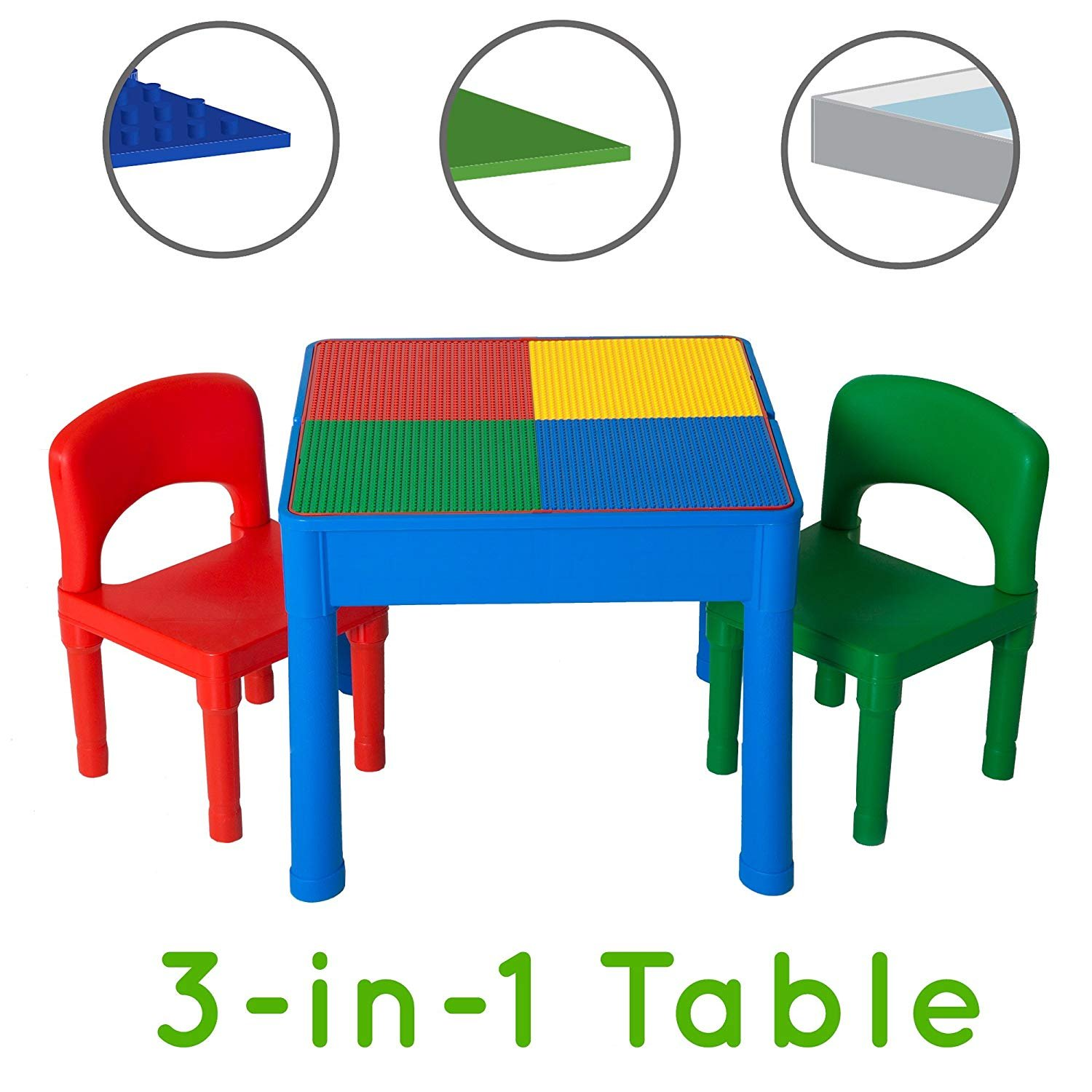 Play Platoon Kids Activity Table Set- 3 in 1 Water Table, Craft Table and Building Brick Table with Storage