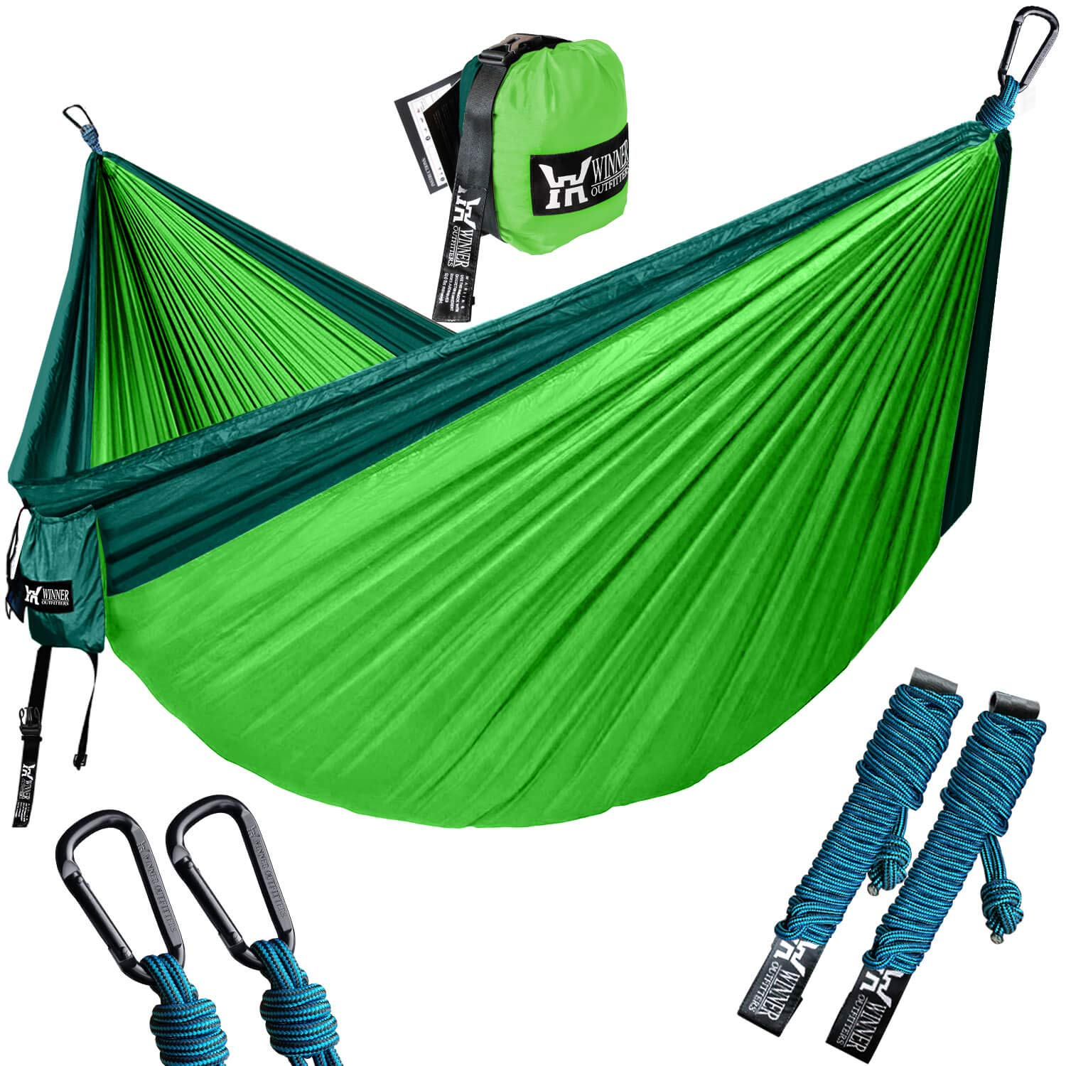 Winner Outfitters Double Camping Hammock with Stand- Lightweight Nylon Portable Hammock, Parachute Double Hammock for Backpacking, Camping, Travel, Beach, Yard