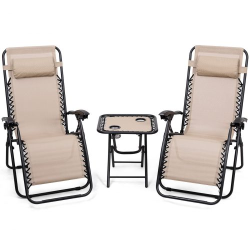 Giantex 3pcs Zero Gravity Chair Patio Chaise Lounge