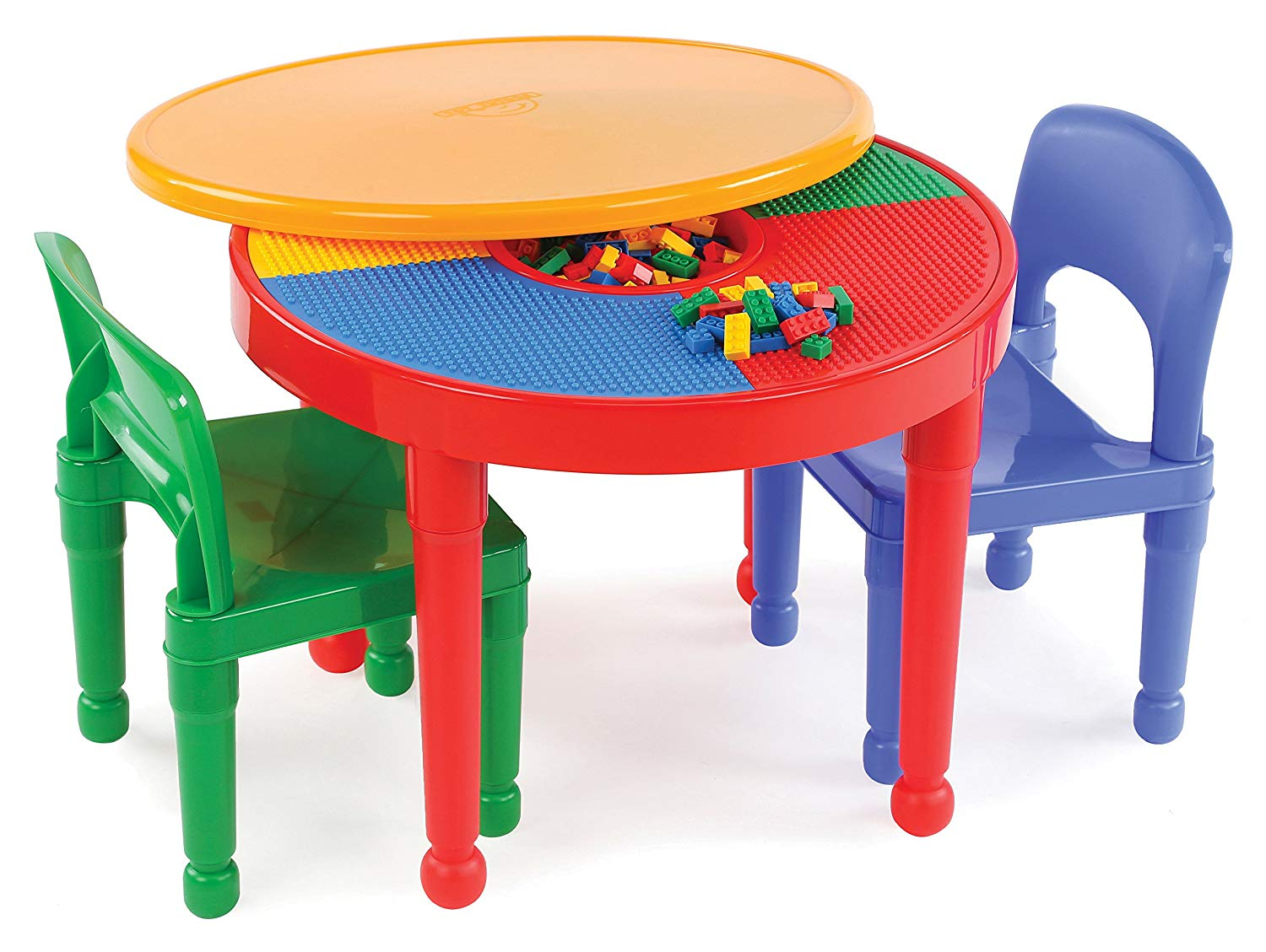Tot Tutors Kids 2-in-1 Plastic Building Blocks- Compatible Activity Table and 2 Chairs Set Round