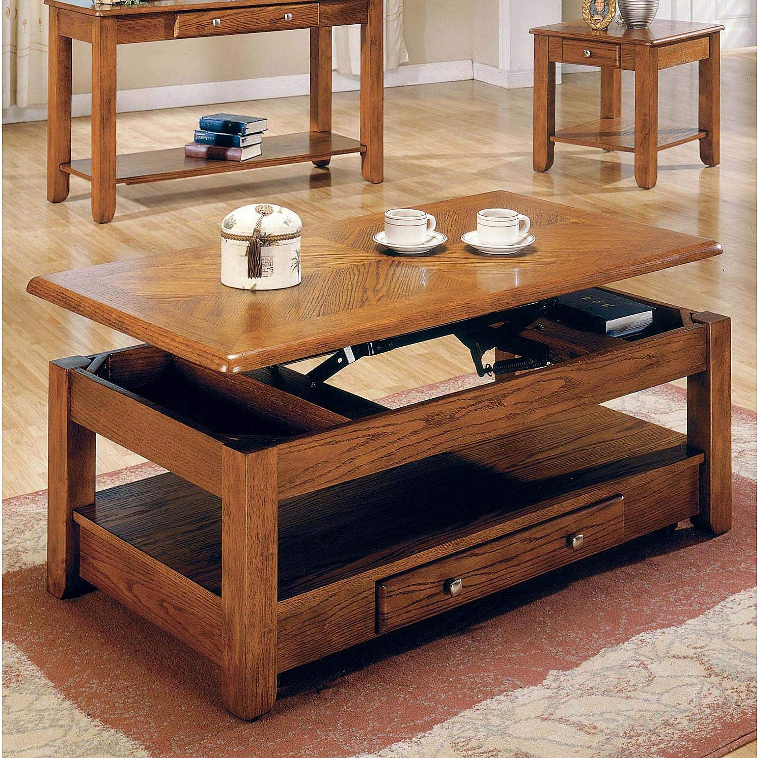 LIFT TOP Coffee Table Oak with Storage Drawers and Bottom Shelf
