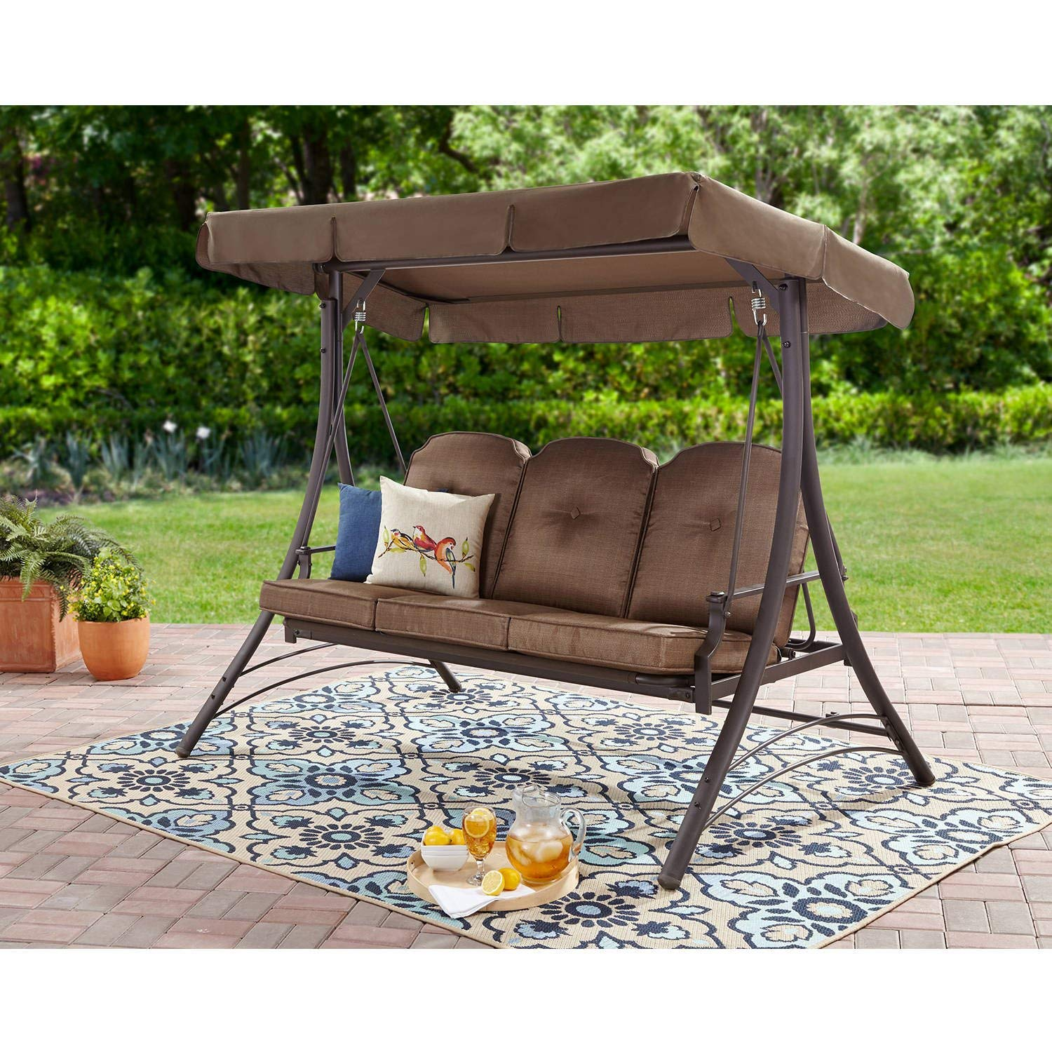Mainstay Durable Rust-resistant Powder-Coated Steel Frame 3-Person Canopy Porch Swing Bed