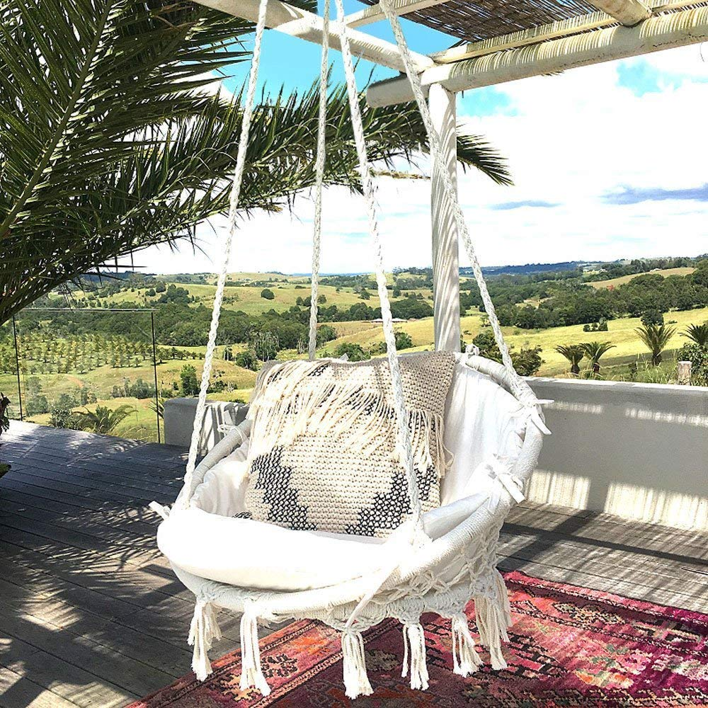 Hammock Chair Macrame Swing 265 Pound Capacity Handmade Knitted Hanging Swing Chair for Indoor/ Outdoor Home Patio Deck YARD Garden