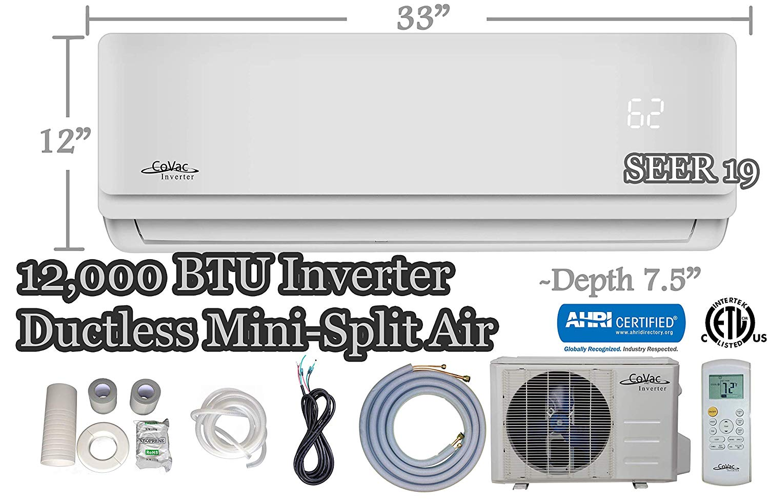 CoVac 12000 BTU Ductless Mini-Split Air Conditioner- Inverter SEER 19- Cooling & Heating
