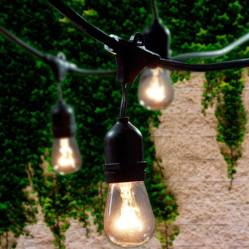 Lemontec Commercial Grade Outdoor String Lights with 15 Hanging Sockets