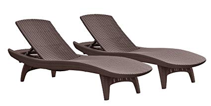 Keter Set of 2 Pacific Sun Lounge Outdoor Chaise Pool Chairs