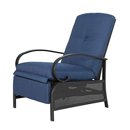 Ulax Furniture Patio Recliner Chair Automatic Adjustable Back Outdoor Lounge Chair