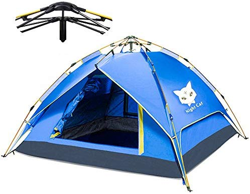 Night Cat Waterproof Camping Tent 1 2 3 4 Person Instant Pop Up Automatic Dome Holiday Easy Set Up Tent for Outdoor Hiking Double Layer