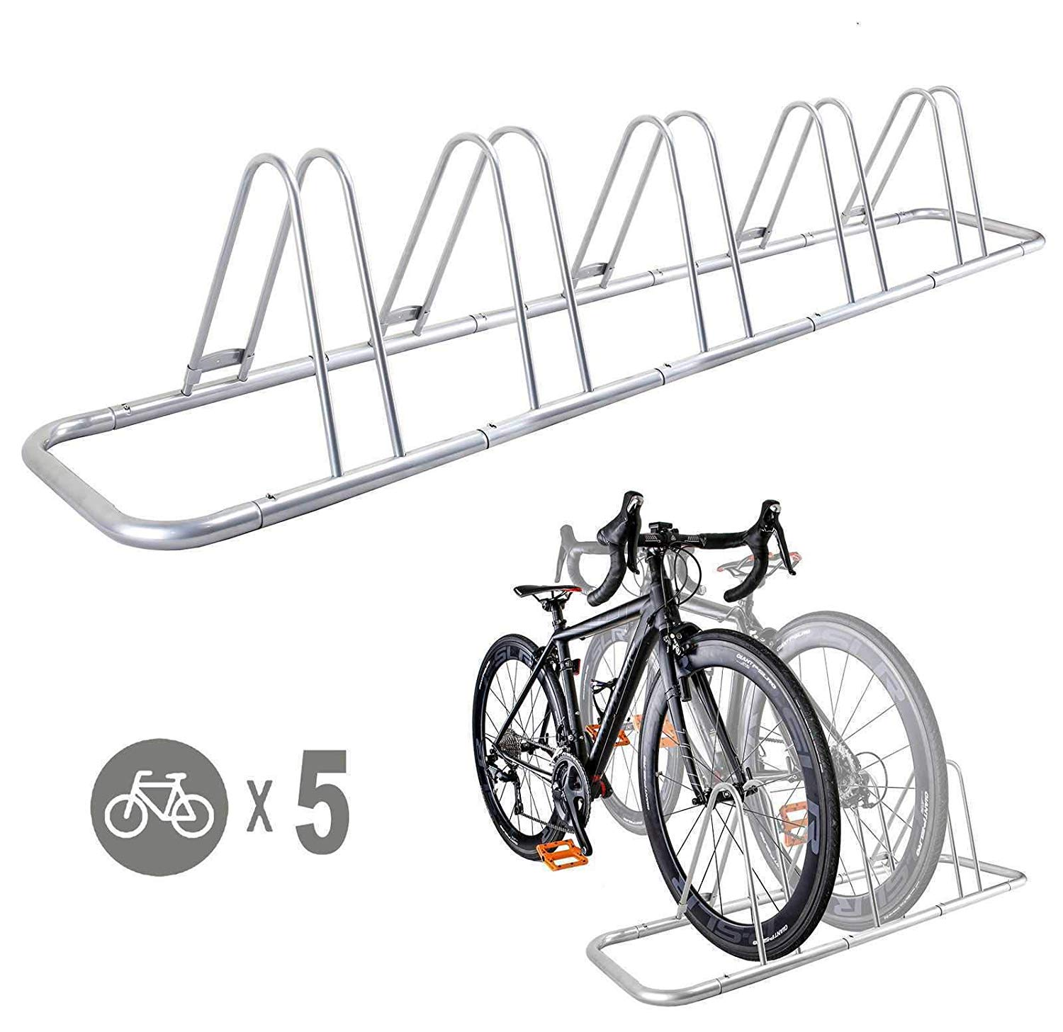 CyclingDeal 5 Bicycle Floor Type Parking Rack Stand