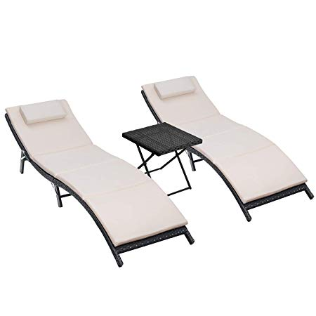 Homall 3 Pieces Outdoor Lounge Chair Patio Chaise Lounge Sets