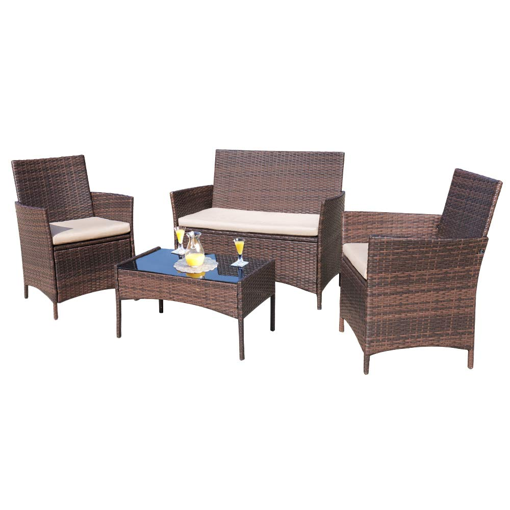 Homall 4-pieces Outdoor Patio Furniture Sets Rattan Chair Wicker Set, Outdoor Indoor Use Backyard Porch Garden Poolside Balcony Furniture Sets