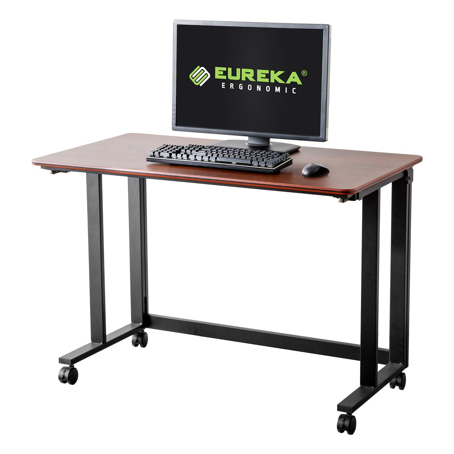 Eureka Ergonomic Rolling Desk, 43 Mobile Utility Table Folding Desk with Four Lockable Wheels Large Work Space One Button to Fold no Assembling